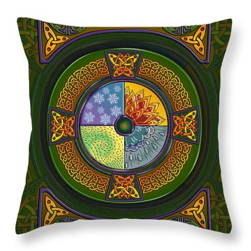 Throw Pillow featuring the mixed media Celtic Elements by Kristen Fox