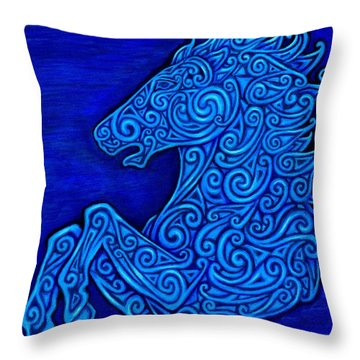 Celtic Horse Throw Pillow by Rebecca Wang