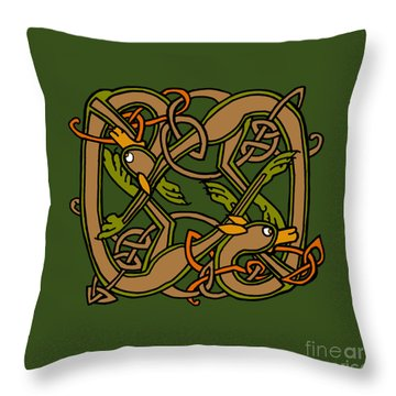 Throw Pillow featuring the digital art Celtic Hounds Knot by Donna Huntriss