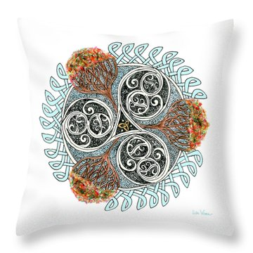 Celtic Knot With Autumn Trees Throw Pillow