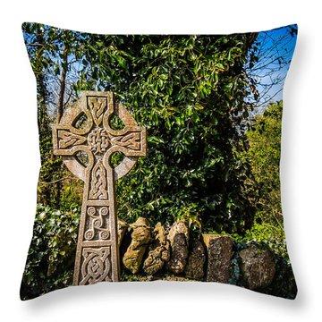 Celtic Knots Decorate A Celtic Cross Throw Pillow