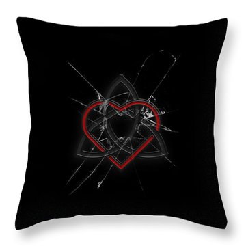 Throw Pillow featuring the digital art Celtic Knotwork Valentine Heart Broken Glass 1 by Brian Carson