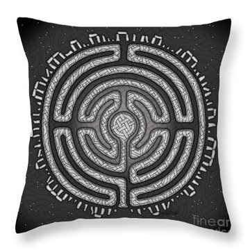 Throw Pillow featuring the mixed media Celtic Labyrinth Mandala by Kristen Fox