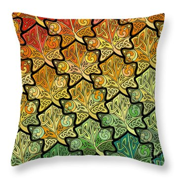 Throw Pillow featuring the mixed media Celtic Leaf Transformation by Kristen Fox