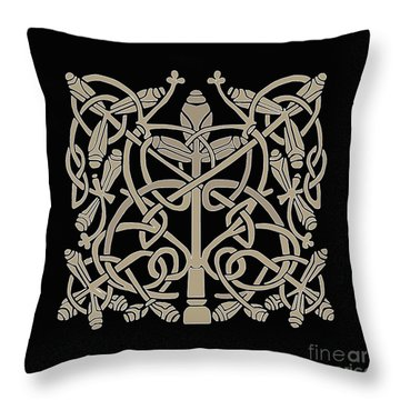 Throw Pillow featuring the digital art Celtic Leaves Knots One by Donna Huntriss