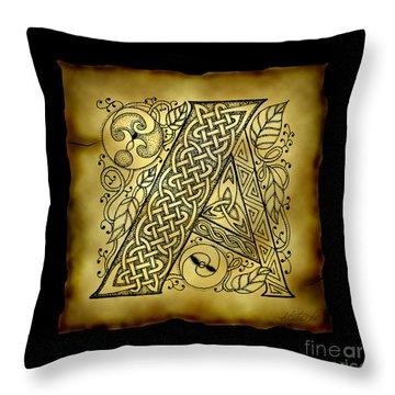 Celtic Letter A Monogram Throw Pillow by Kristen Fox