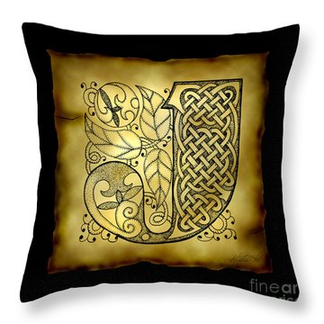 Celtic Letter J Monogram Throw Pillow by Kristen Fox