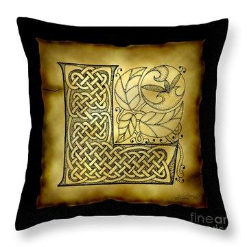 Celtic Letter L Monogram Throw Pillow