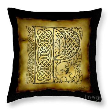 Celtic Letter P Monogram Throw Pillow