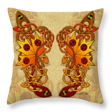 Throw Pillow featuring the mixed media Celtic Loose Leaves by Kristen Fox