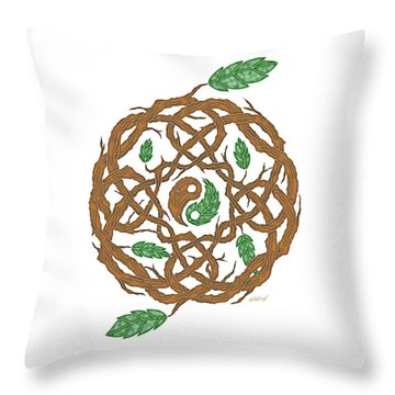 Celtic Nature Yin Yang Throw Pillow by Kristen Fox