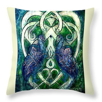 Celtic Peacocks Throw Pillow