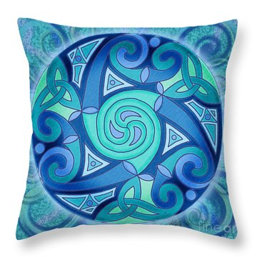 Throw Pillow featuring the mixed media Celtic Planet by Kristen Fox
