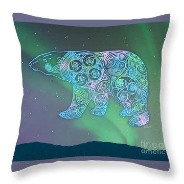 Celtic Polar Bear Throw Pillow by Kristen Fox