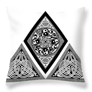 Throw Pillow featuring the mixed media Celtic Pyramid by Kristen Fox