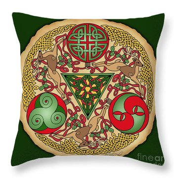 Throw Pillow featuring the mixed media Celtic Reindeer Shield by Kristen Fox