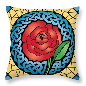 Throw Pillow featuring the mixed media Celtic Rose Stained Glass by Kristen Fox