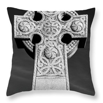 Celtic Stone Cross At Sunset Throw Pillow by Gary Whitton