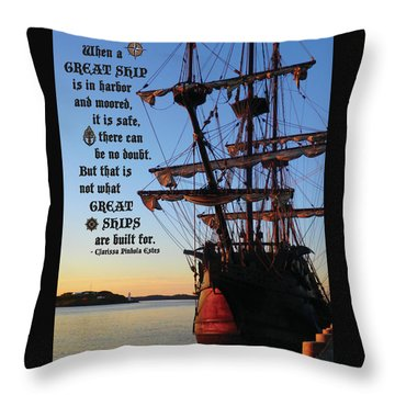 Celtic Tall Ship - El Galeon In Halifax Harbour At Sunrise Throw Pillow