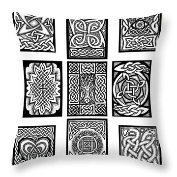 Throw Pillow featuring the drawing Celtic Tarot Spread by Kristen Fox