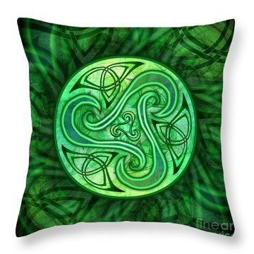 Celtic Triskele Throw Pillow by Kristen Fox