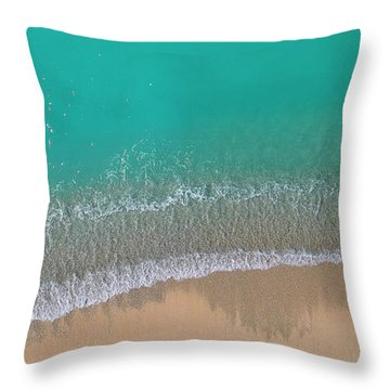 Throw Pillow featuring the photograph Cemetery Beach Aerial Panoramic by Adam Romanowicz