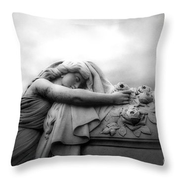 Throw Pillow featuring the photograph Cemetery Grave Mourner Black White Surreal Coffin Grave Art - Angel Mourner Across Rose Coffin by Kathy Fornal