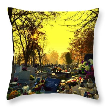 Cemetery In Feast Of The Dead Throw Pillow