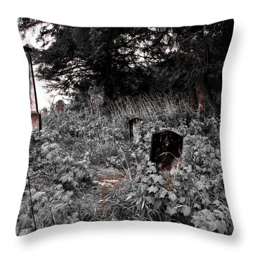Cemetery In Red Throw Pillow