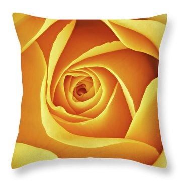 Center Of A Yellow Rose Throw Pillow
