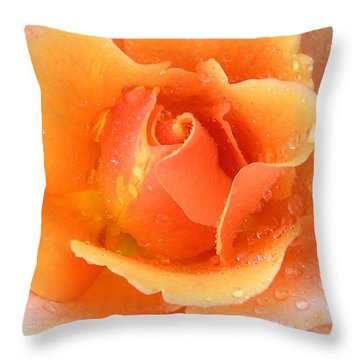 Center Of Orange Rose Throw Pillow by John Lautermilch