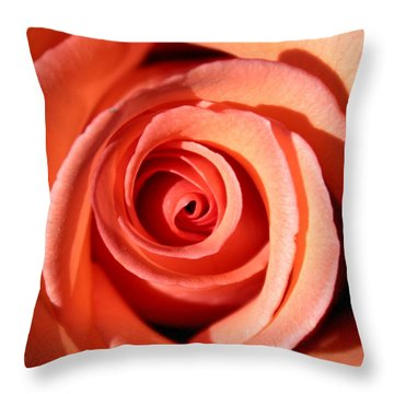 Throw Pillow featuring the photograph Center Of The Peach Rose by Barbara Chichester