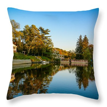 Centerport Harbor Autumn Colors Throw Pillow