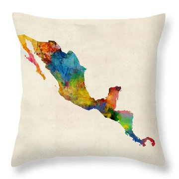 Central America And Mexico Watercolor Map Throw Pillow