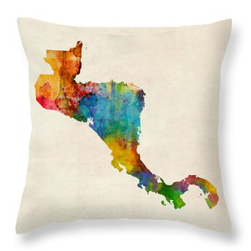 Central America Watercolor Map Throw Pillow