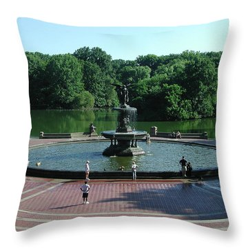 Central Fountain Throw Pillow by Kelvin Booker