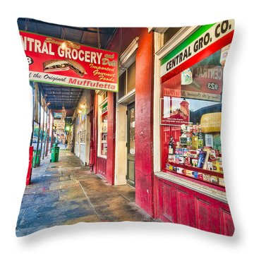 Central Grocery And Deli In The French Quarter Throw Pillow
