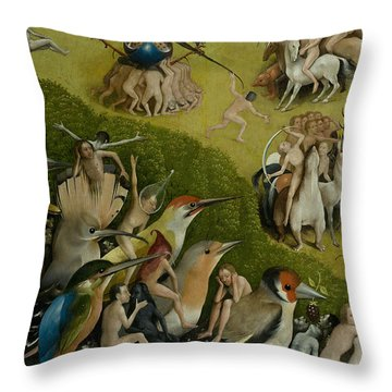 Central Panel From The Garden Of Earthly Delights Throw Pillow