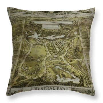 Central Park 1863 Throw Pillow