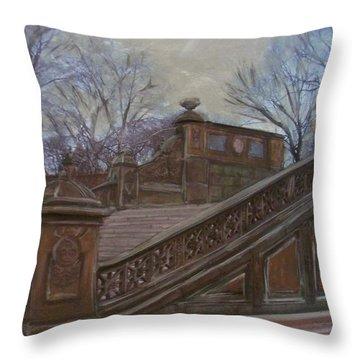 Central Park Bethesda Staircase Throw Pillow by Anita Burgermeister