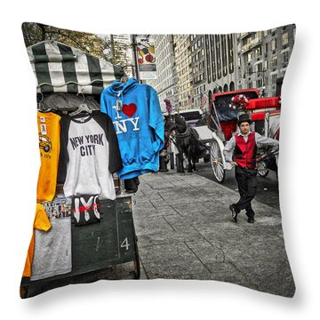 Central Park Carriage Horse Throw Pillow by Joan Reese