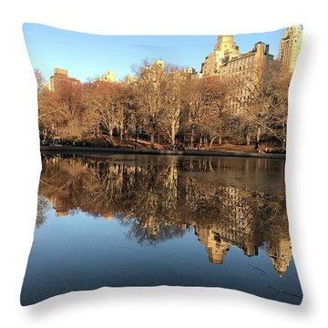 Throw Pillow featuring the photograph Central Park City Reflections by Madeline Ellis