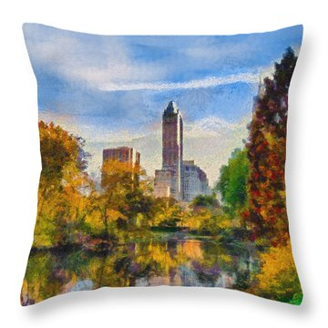 Throw Pillow featuring the painting Central Park by Kai Saarto