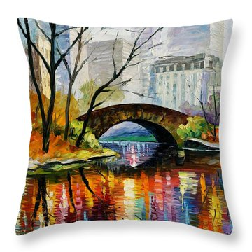 Central Park Throw Pillow by Leonid Afremov
