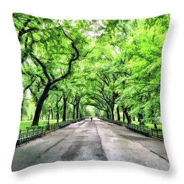 New York City Central Park Mall Throw Pillow
