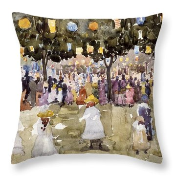 Central Park  New York City  July Fourth  Throw Pillow by Maurice Prendergast