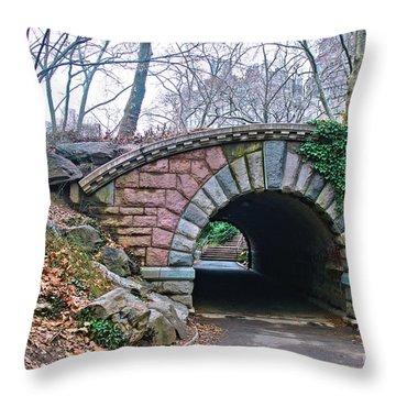 Central Park, Nyc Bridge Landscape Throw Pillow