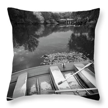 Central Park Rowboat Black And White Version Throw Pillow
