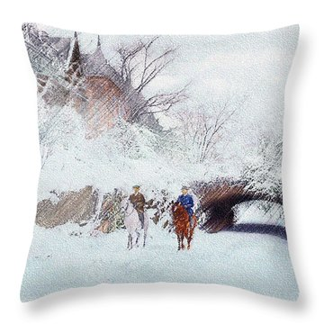 Central Park Snow Throw Pillow