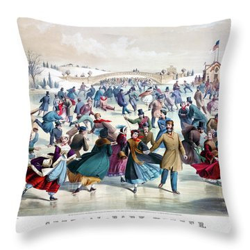 Central Park Winter The Skating Pond  New York Antique Currier And Ives 1862 Print Throw Pillow
